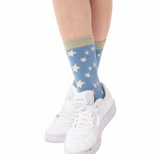 Stars Socks Duck Egg Blue