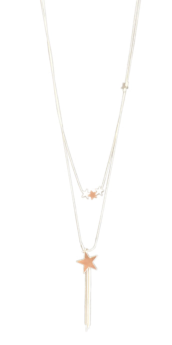 Stars and Tassels Silver and Rose Gold Long Necklace