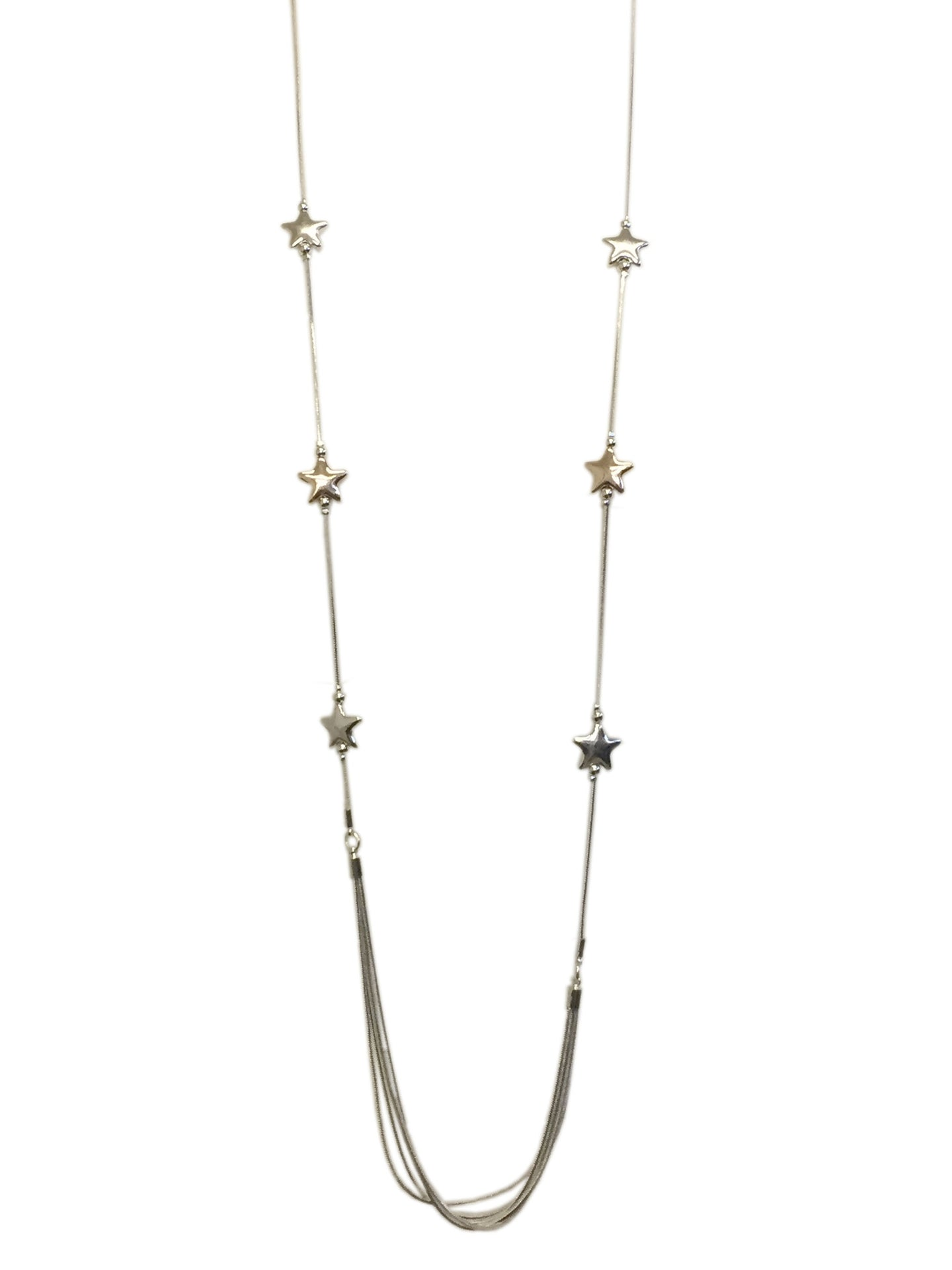 String of Stars Silver Long Necklace