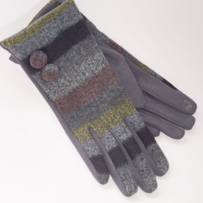 Grey Stripe Gloves