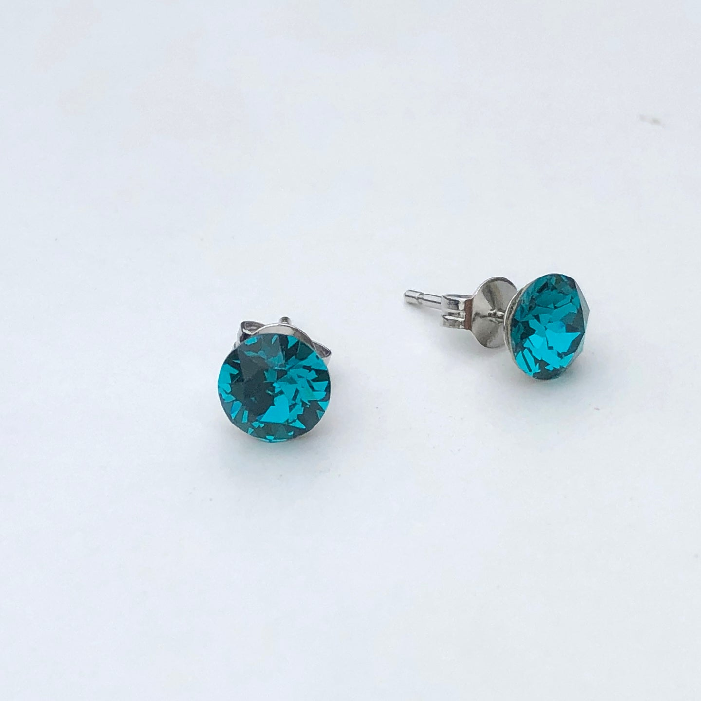 Aqua Swarovski Crystal Stud Earrings