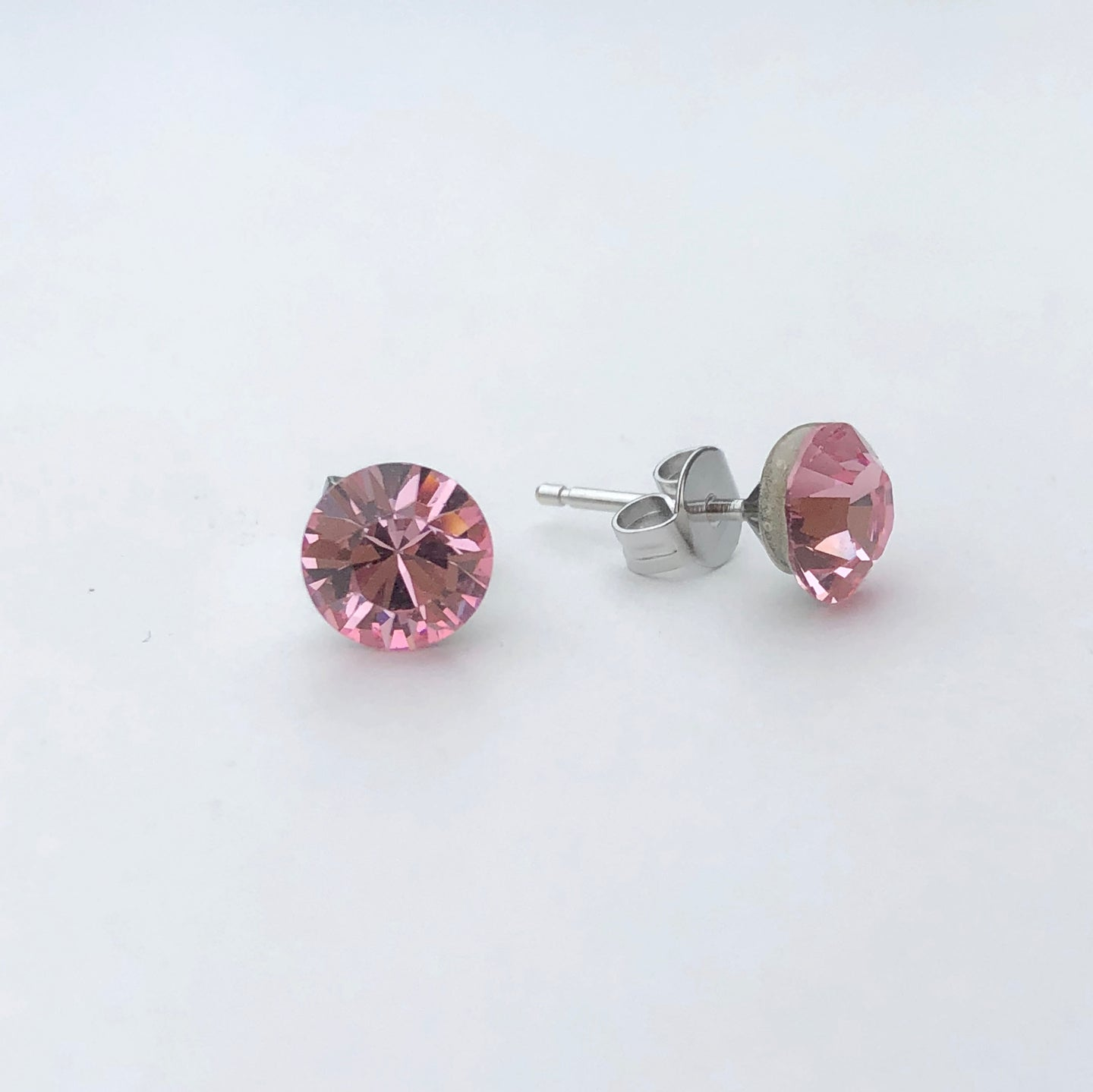 Light Rose Pink Swarovski Crystal Stud Earrings