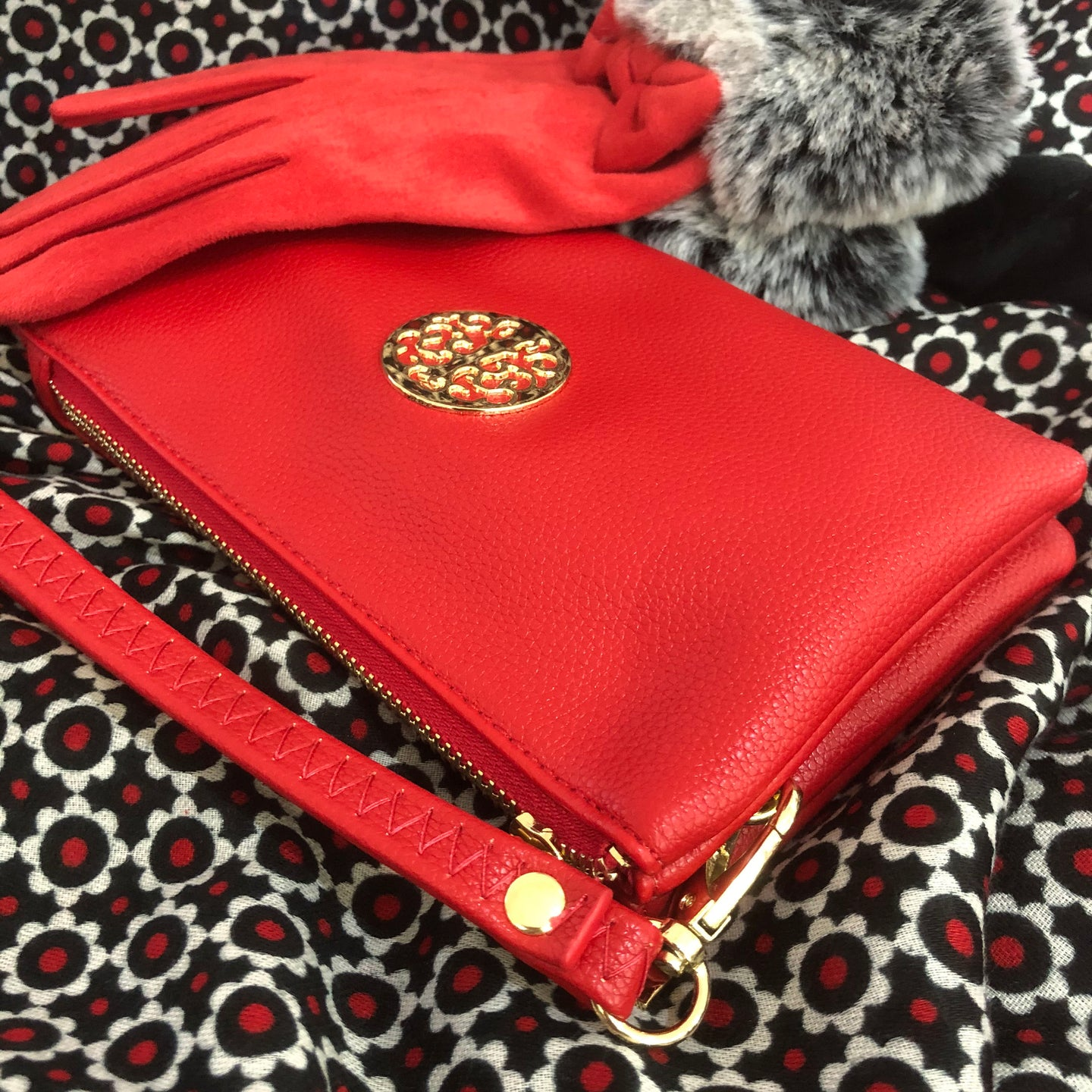 Red Tree of Life Clutch Bag