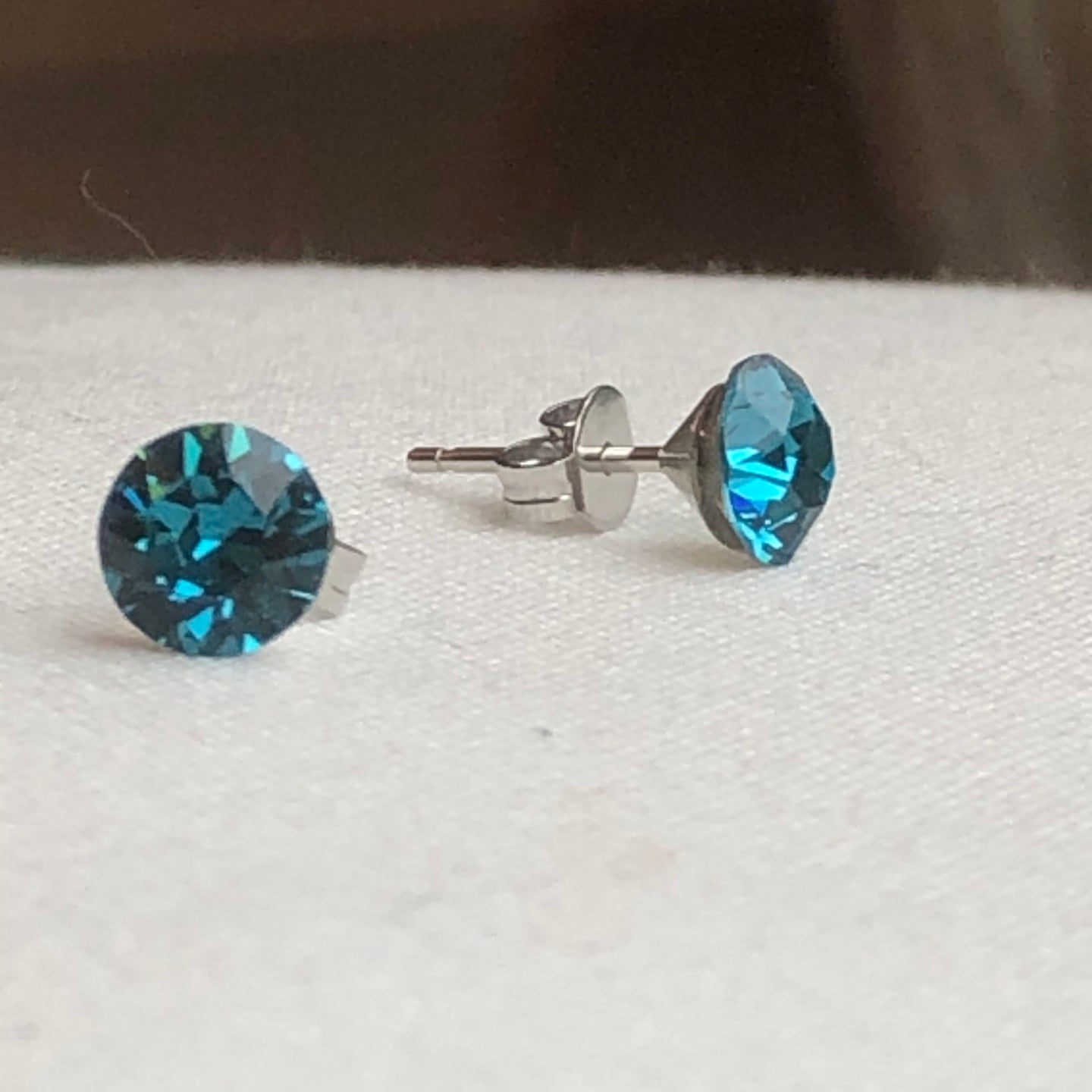 Teal Blue Swarovski Crystal Stud Earrings