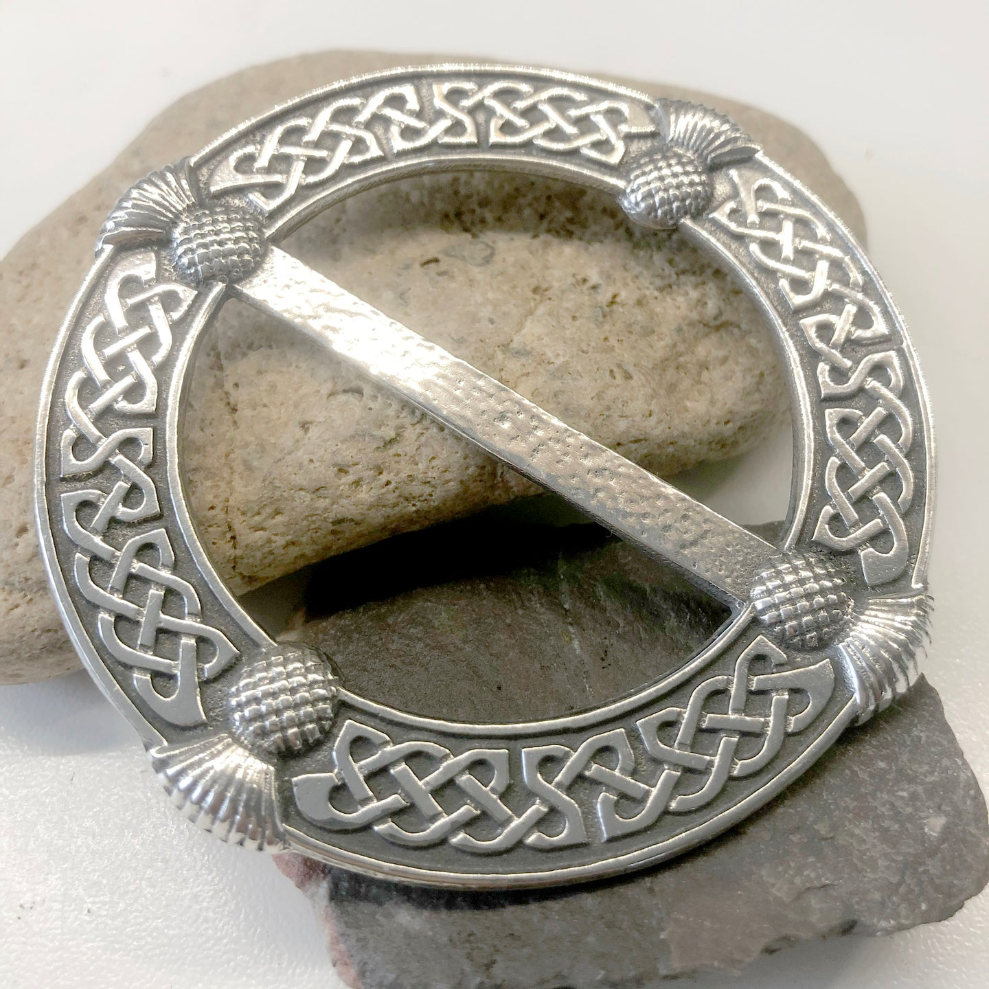 Thistle Pewter Handmade Scarf Ring