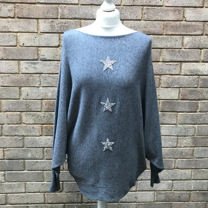 Grey Batwing Three Star Jumper