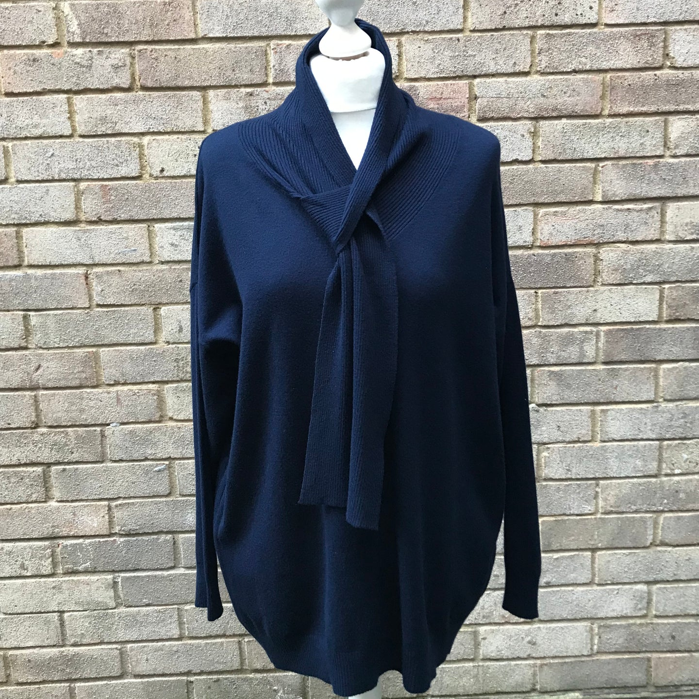 Navy Blue Tie Jumper
