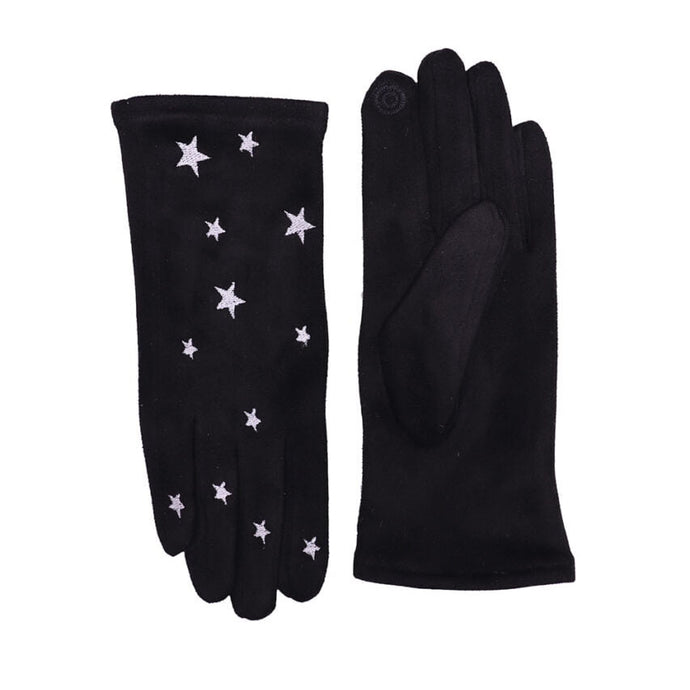 Black Touch Screen Embroidered Star Gloves