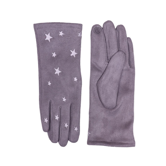 Grey Touch Screen Embroidered Star Gloves