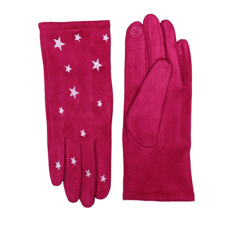 Hot Pink Touch Screen Embroidered Star Gloves