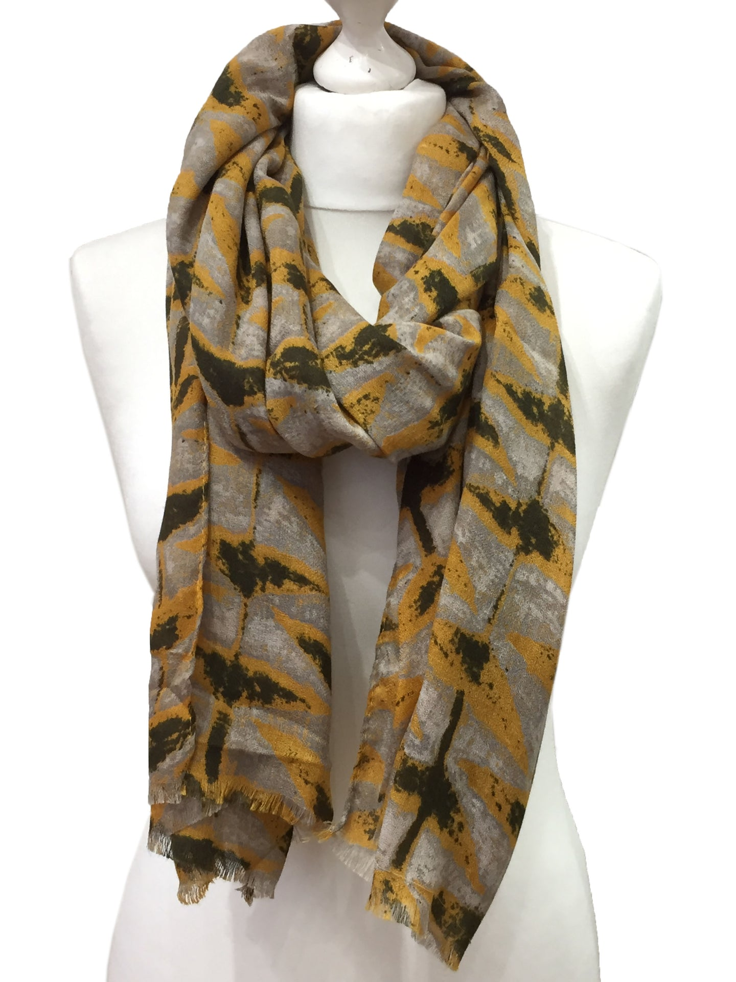 Yellow Retro Triangle Printed Scarf