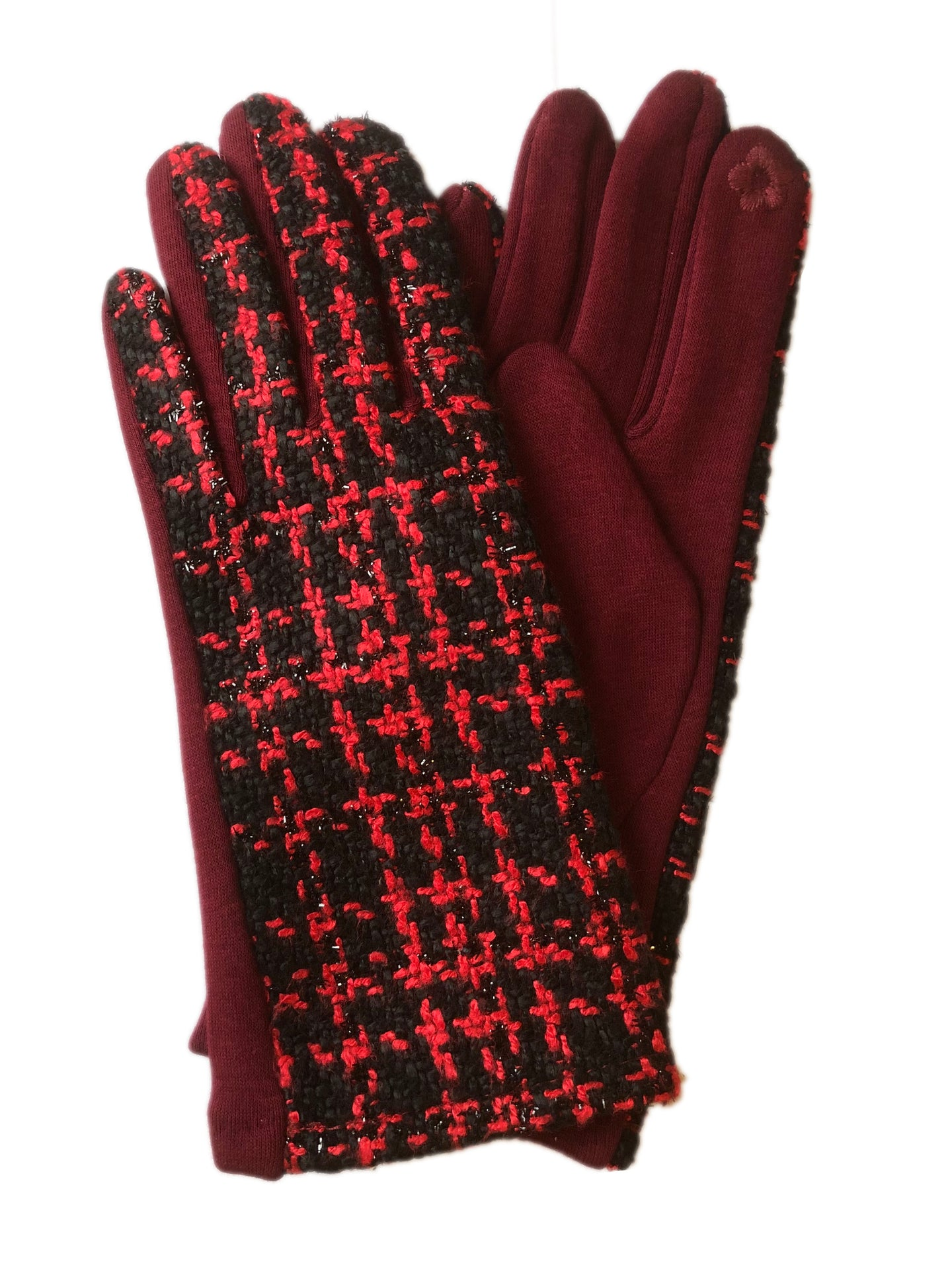 Tweed Gloves Red