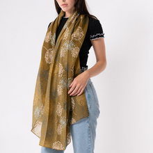 Olive Green Watercolour Dandelion Scarf