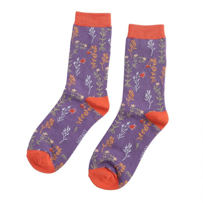 Purple Wild Flower Socks