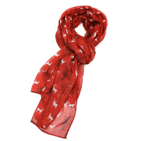 Red Winter Stag Scarf