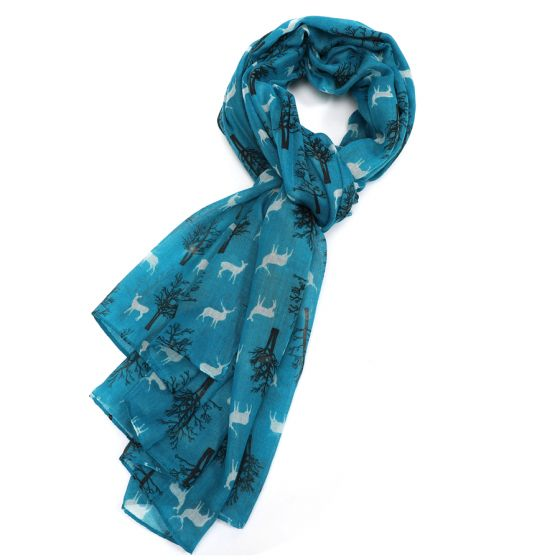 Teal Blue Winter Stag Scarf