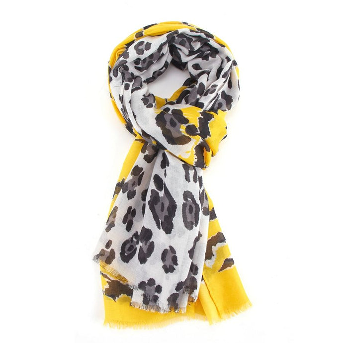 Yellow Leopard Scarf