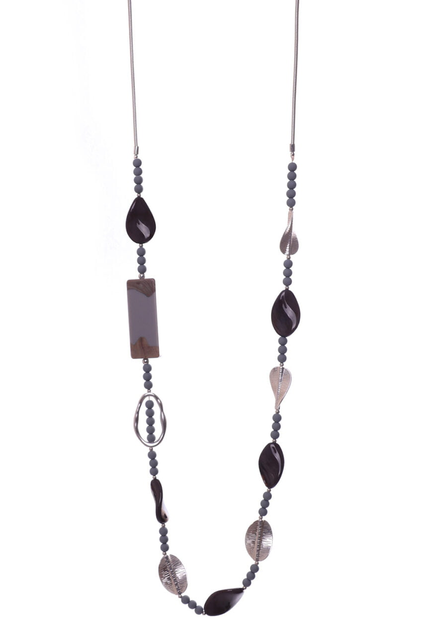 Abstract Black Long Necklace