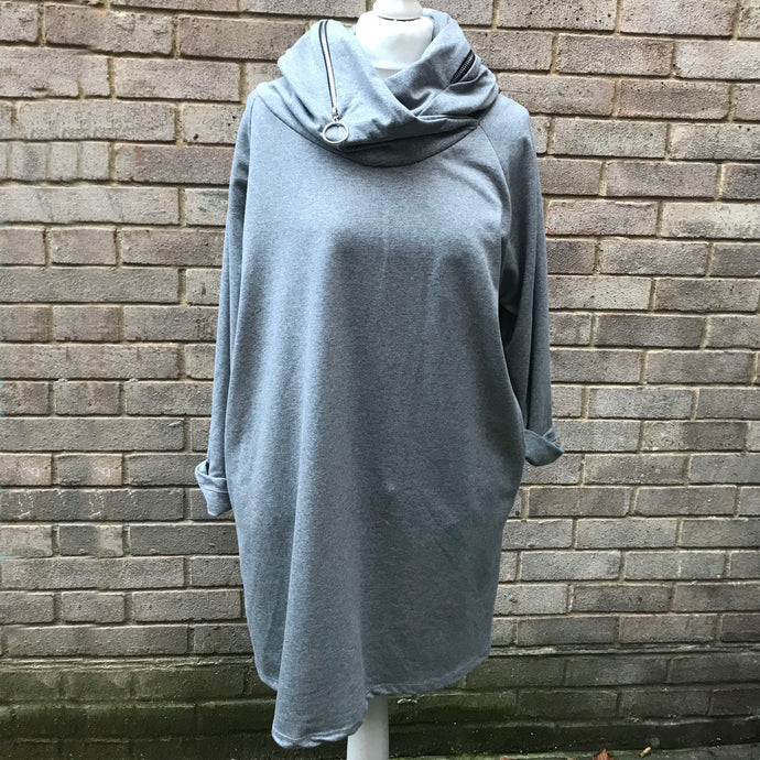 Grey Zip Tunic Dress