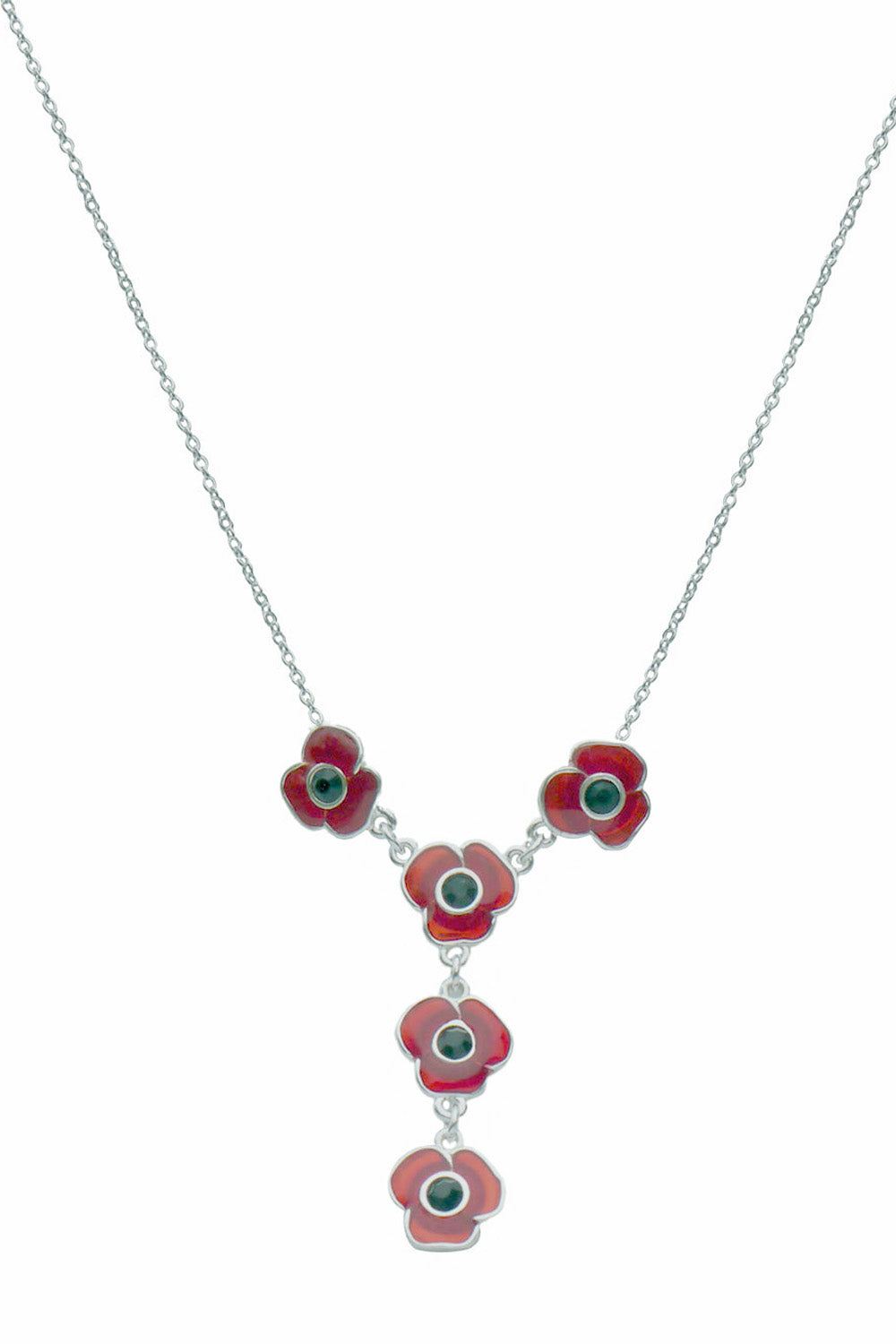 Poppies Necklace Silver