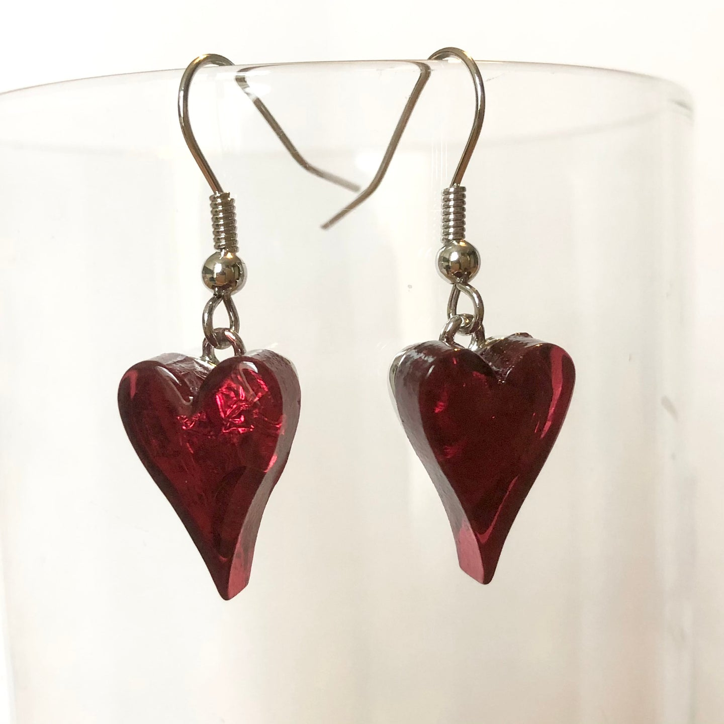 Red Resin Heart Earrings