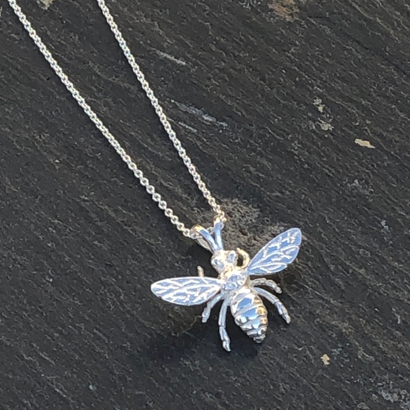 Tiny Silver Bee Pendant Necklace