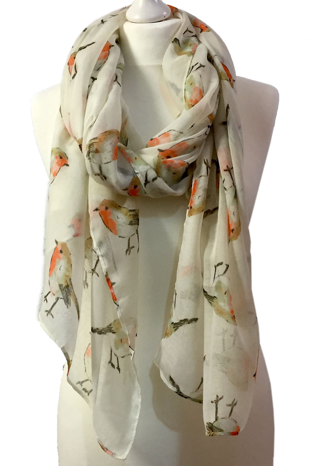 Cream Watercolour Robin Scarf
