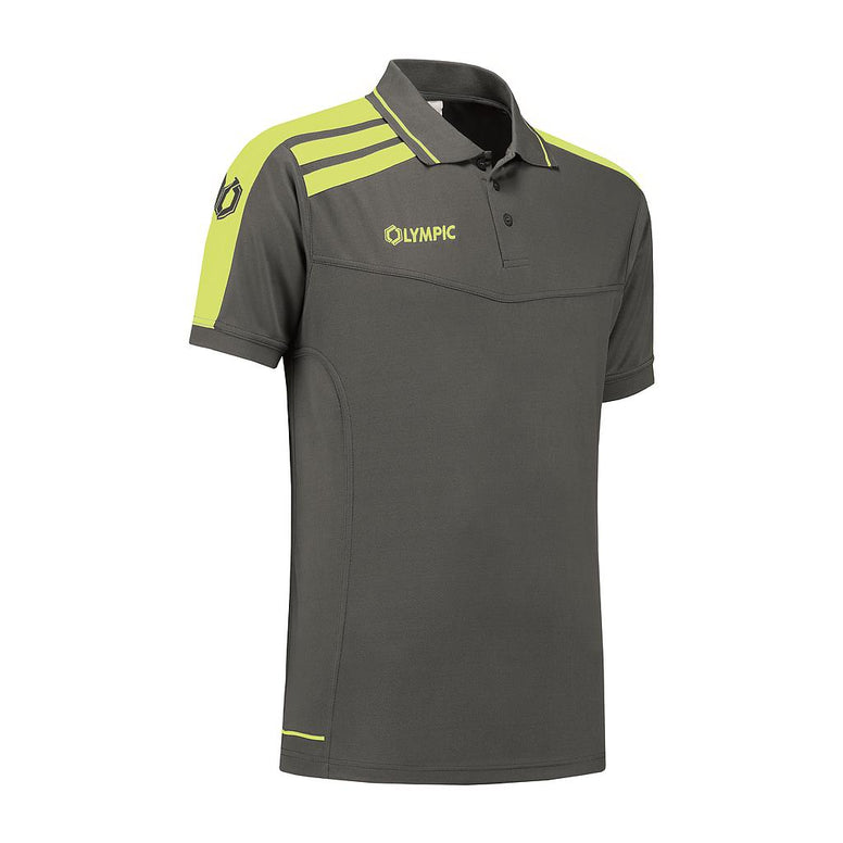 Olympic Roma Polo grijs/fluo geel