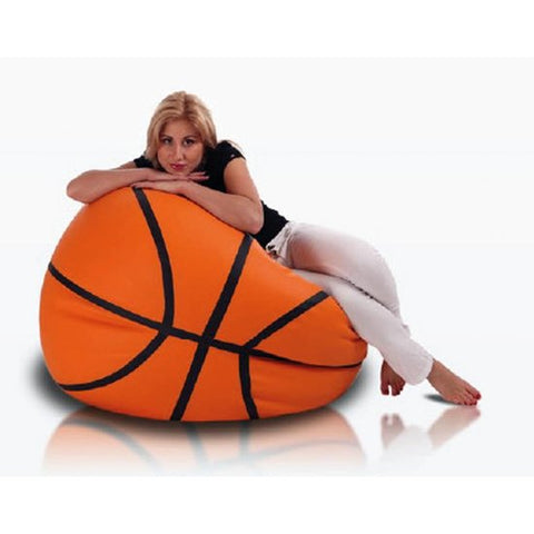 Basketbal zitzak oranje leatherlook L Ø 100cm