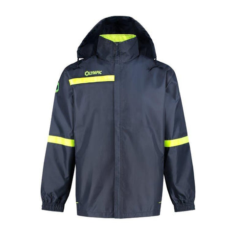 Olympic rainjacket top 2.0 navy/yellow fluo