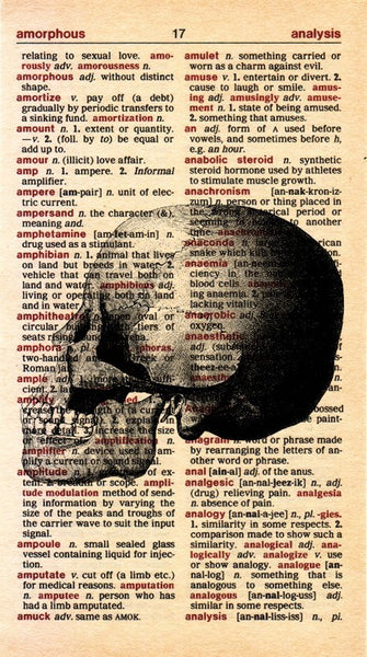 Antique Skull on Vintage Dictionary Page Mini Print