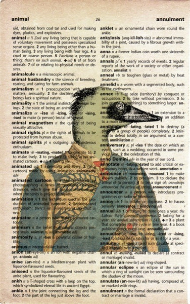 Antique Duck on Vintage Dictionary Page Print