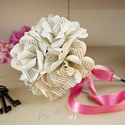 Hand Tied Six bookish Paper Roses Bouquet