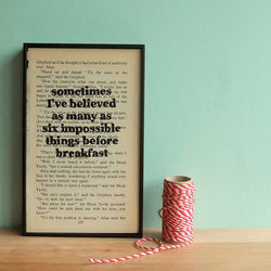 Alice in Wonderland Quote Framed Book Page (choice of quotation)