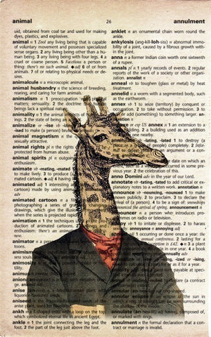 Antique Giraffe on Vintage Dictionary Page Print
