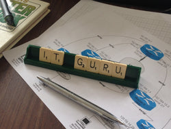 """IT GURU"" Vintage Letter Tile Desk Name"