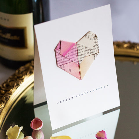Happy Anniversary Paper Heart Card