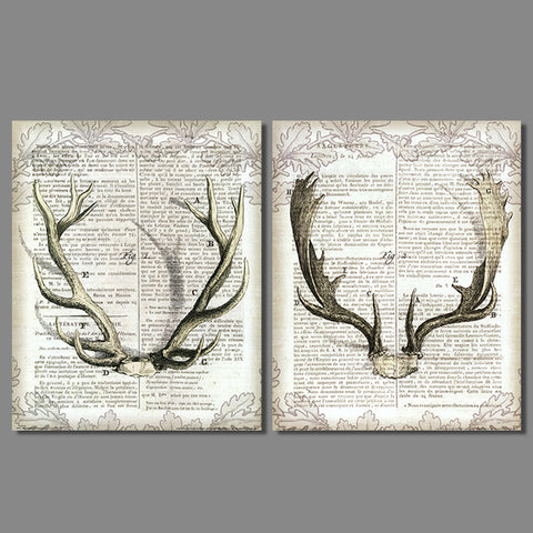 3D Retro Antlers book deer letter picture decoration station canvas painting wall art for living room home decor unframed