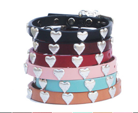 High Quality leather dog collar adorned with Heart ornaments