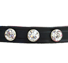Black Leather dog collar with Swarovski Crystals