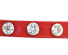 Red Leather dog collar with Swarovski Crystals