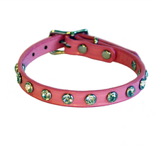 Pink Leather dog collar with Swarovski Crystals
