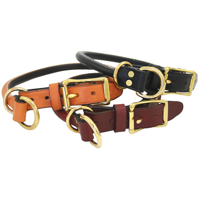 Rolled Leather Choke Collar Tan, Black, Burgundy