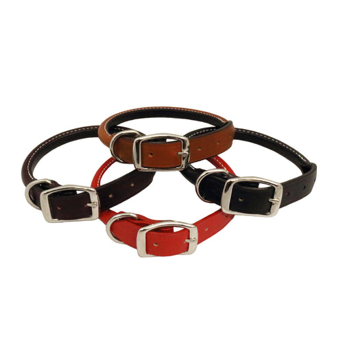 Rolled Leather dog collar, handmade, black, burgundy, tan