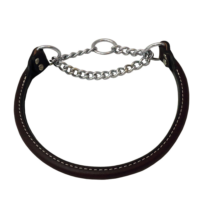 Martingale Rolled Leather Collar Black