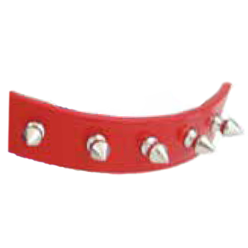 Spiked Leather Collar Red