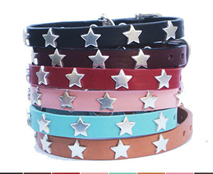 High Quality leather dog collar adorned with silver Star ornaments