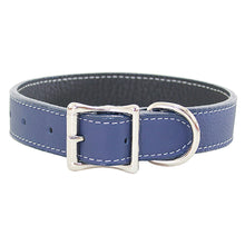 Handmade High Quality Blue Tuscany Leather Collar