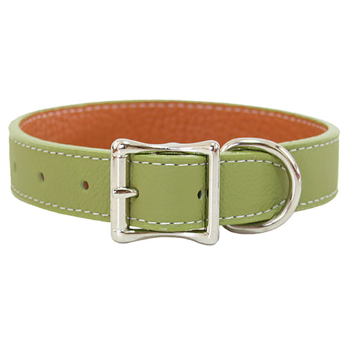 Green Leather Collar made with soft Tuscany Leather