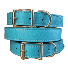 Turquoise  Leather Collar made with Tuscany Leather
